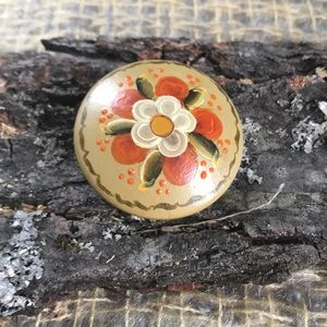 Hand painted vintage flower pin